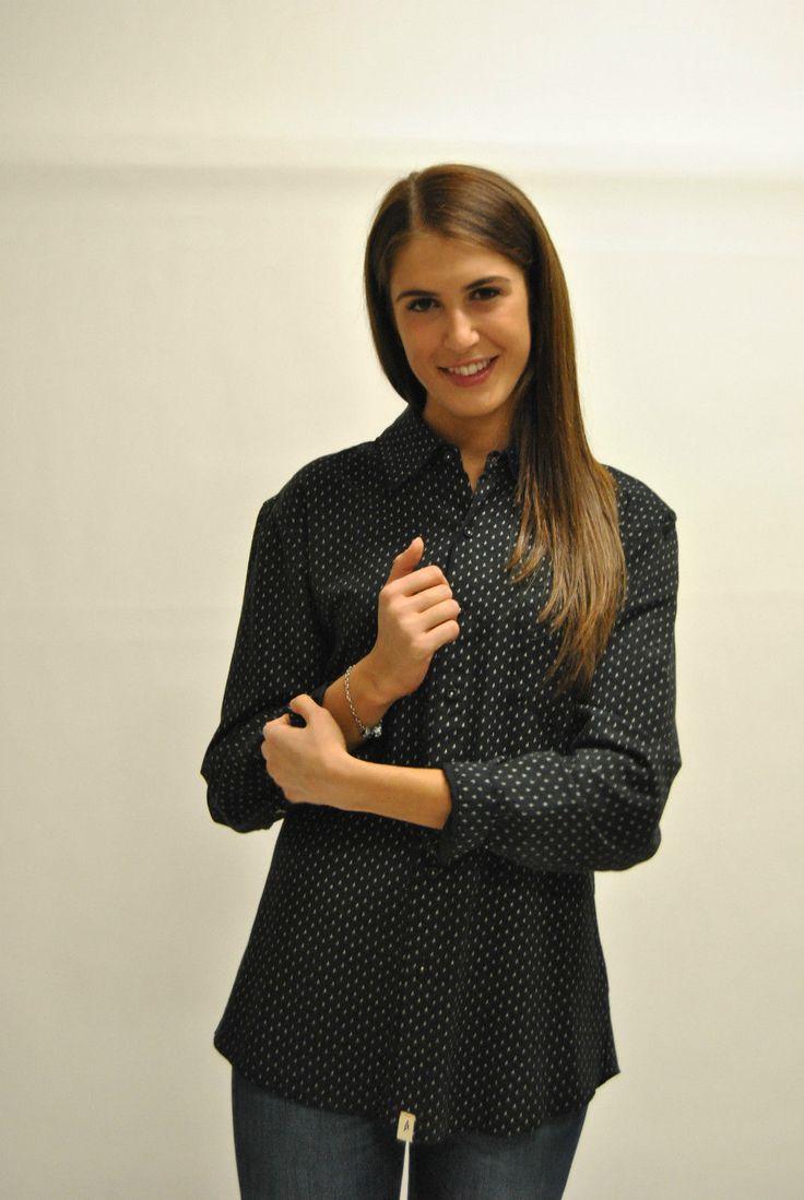 Camicia da donna, nera stampata a manica lunga. Atlamont   eBay