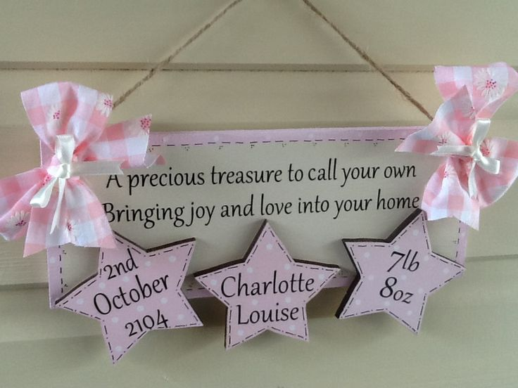 17 best personalised baby gifts images on pinterest baby gifts hand crafted new baby keepsake gift 3 stars attached to main plaque painted varnished in your negle Gallery
