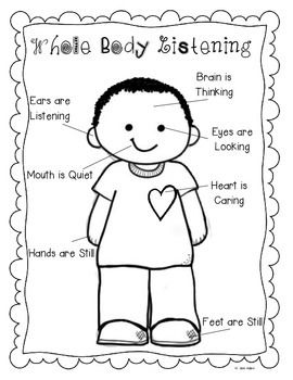 Whole body listening coloring page sketch coloring page for Listening coloring pages