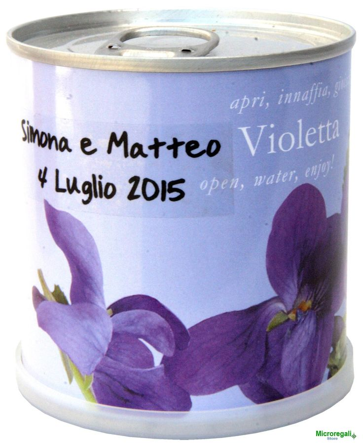 Bomboniere Naturali Personalizzabili VIOLA Fiori in Lattina MACFLOWERS made in Germany cm 7,5x8 h. STAPPA, ANNAFFIA E DIVERTITI .....  E' bello poter utilizzare un oggetto