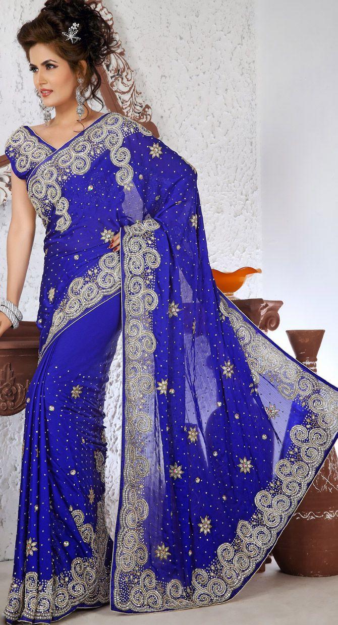 Royal Blue Satin Indian Wedding Dress