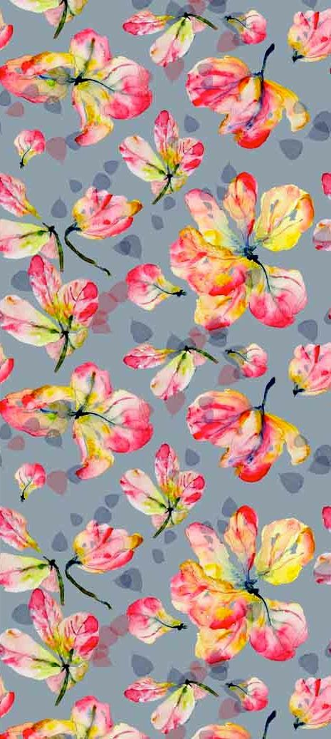 Designs by susan_magdangal. Pink and yellow floral on blue- gray ground