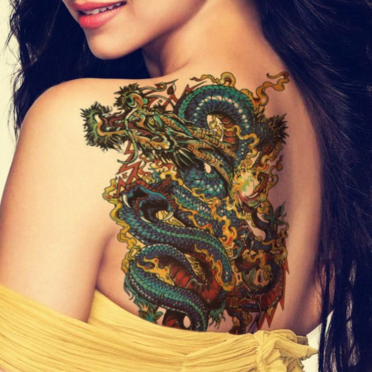 Colorful Traditional Dragon Tattoo On Women Left Back Shoulder