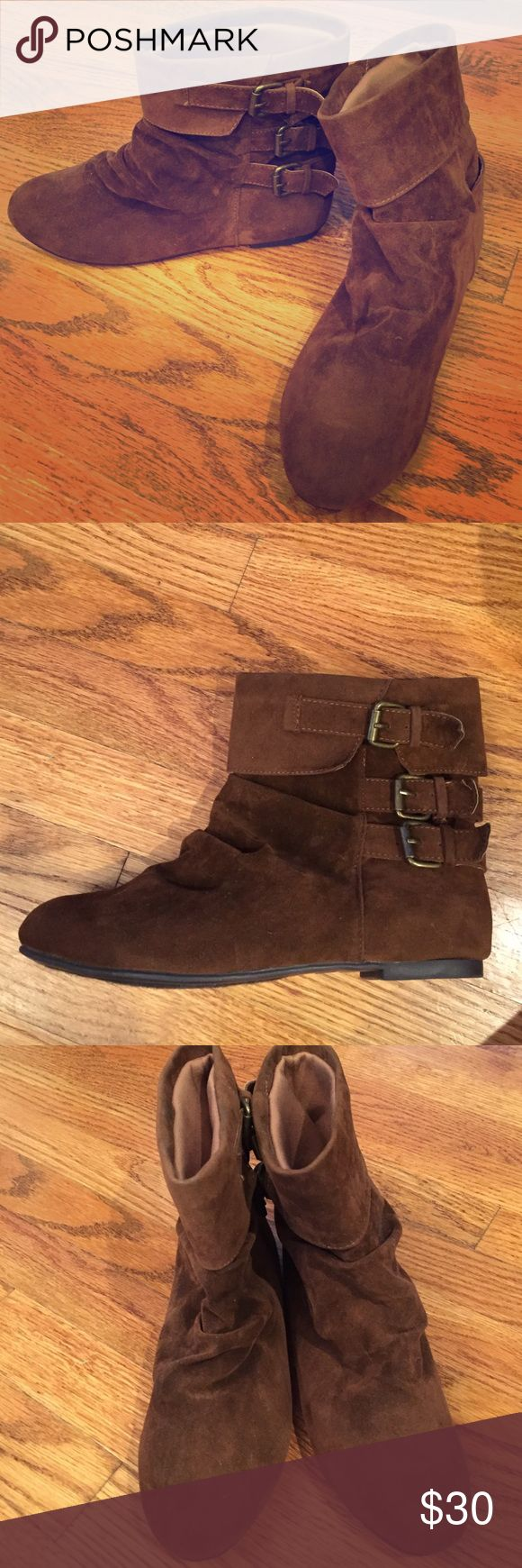 Diba London brown suede ankle boot, size 8.5 Diba London brown suede ankle bootie, with three buckle detail on the side. Size 8.5, gently used. Good condition! Diba Shoes Ankle Boots & Booties