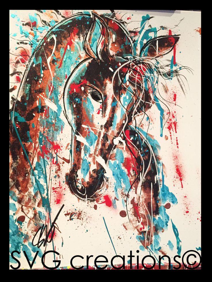 Cheval peinture moderne sur toile acrylique 24 x 30 / Horse modern painting on canvas acrylic 24 x 30 de la boutique SVGCreations13 sur Etsy