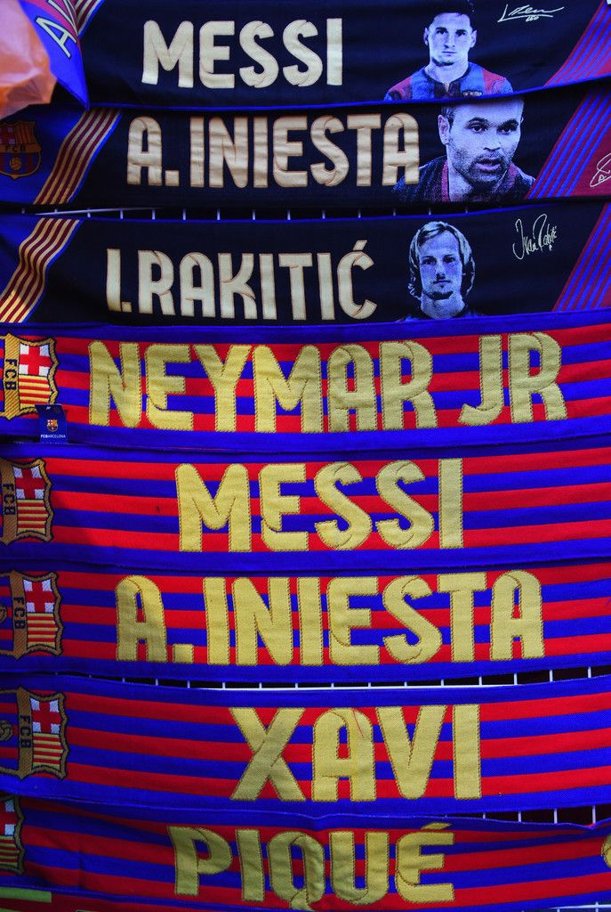 Barcelona player scarves for sale prior to the La Liga match between FC Barcelona and Real Madrid CF at Camp Nou on March 22, 2015 in Barcelona, Catalonia.