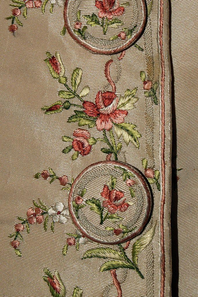 Embroidery on silk faille coat, possibly Italian, ca. 1770-80, KSUM 1995.17.183.