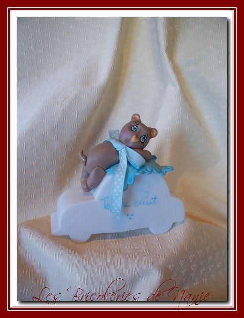 """"""" JOLI COEUR """" petit ourson entièrement modelé à la main et en porcelaine froide <3"""
