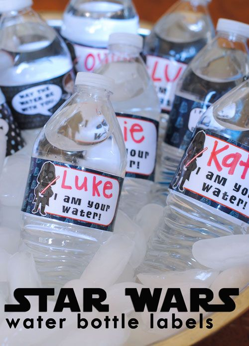 Luke, I am Your Water Bottle FREE Water Bottle Printable Wraps  and Light Sabers, Jedis, Droids and more. For Star Wars lover, we have put together a collection of exciting Star Wars printables, foods and other Star Wars party ideas!