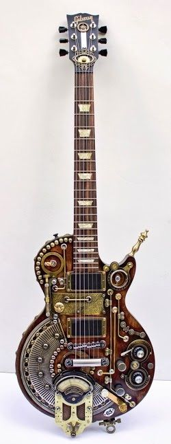 Custom built Les Paul Steampunk Gibson guitar, This would be an awesome idea for a Guitar Controller Mod.