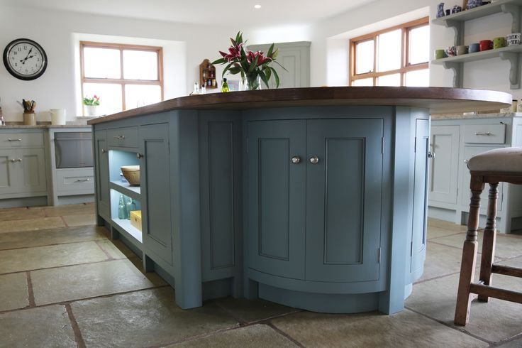 Eastburn Country Furniture made my kitchen. This is the Island in Farrow and Ball Oval Room Blue