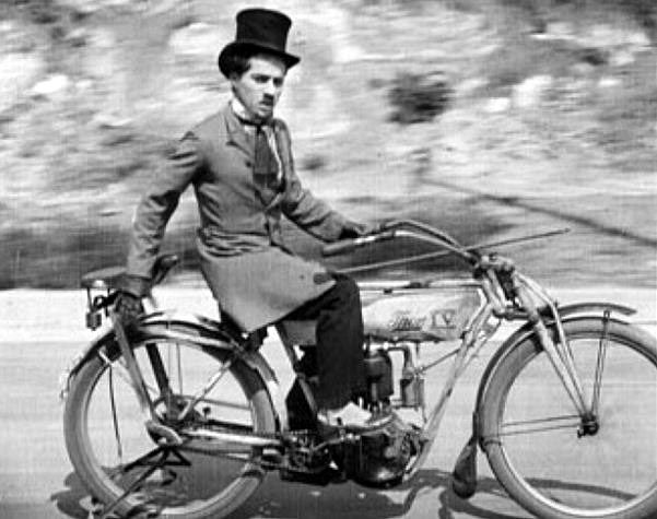 Indian Motorcycle, Charlie Chaplin 1914 | found on http://theoldmotor.com/