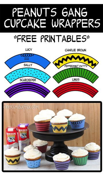 Create Charlie Brown and the Peanuts Gang Cupcakes.  Free printable cupcake wrappers for all the characters including Lucy, Linus, Sally, Schroeder, and Peppermint Paty