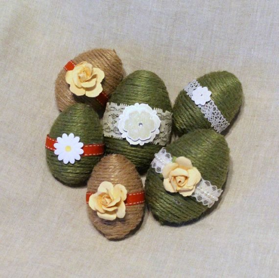 Twine Easter Eggs Set of Six Twine Wrapped Eggs by TheRusticTrunk