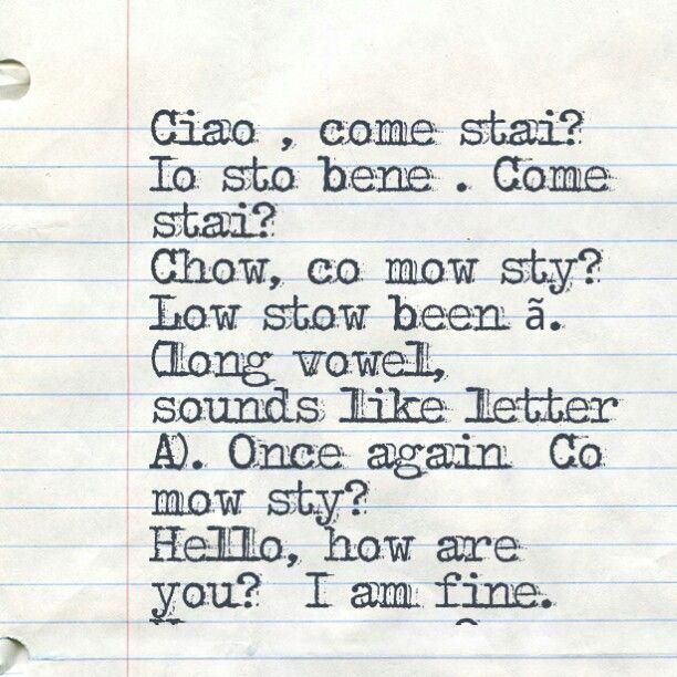 how to say hello in italian pronunciation