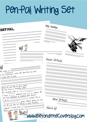 A pen-pal writing set for kids 6-12 years old. Free printable. | www.beyondtheinspiration.com
