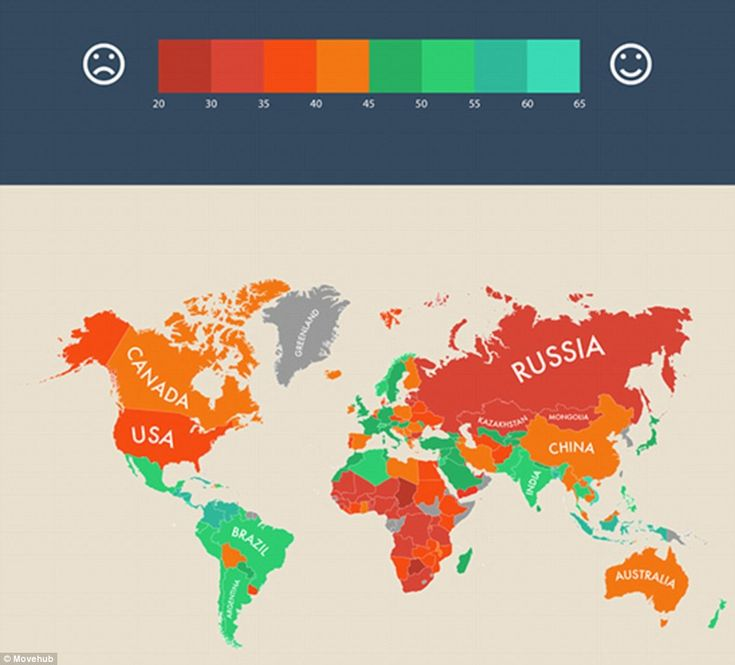 The Map Was Compiled By The Relocation Site Movehub Using Data From The Latest Happy Planet Index Which Ranks 151 Countries Depending On The Extent To