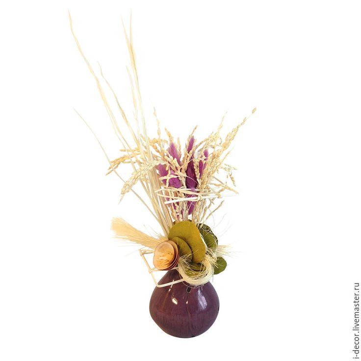 Купить Интерьерная композиция из сухоцветов. Стебель в лиловом. - брусничный, интерьерная композиция, сухоцветы, сухоцветная композиция