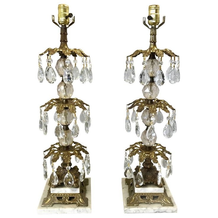 Pair of Hollywood Regency Bronze and Crystal Lamps #CrystalLamp