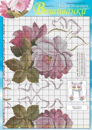 Luxurious cross stitch flowers that can be used for decorating a dress, a skirt or a blouse. Source: http://dianaplus.eu/cross-stitch-patterns-mini-edition-embroidered-shirts-issue-12024-p-6677.html