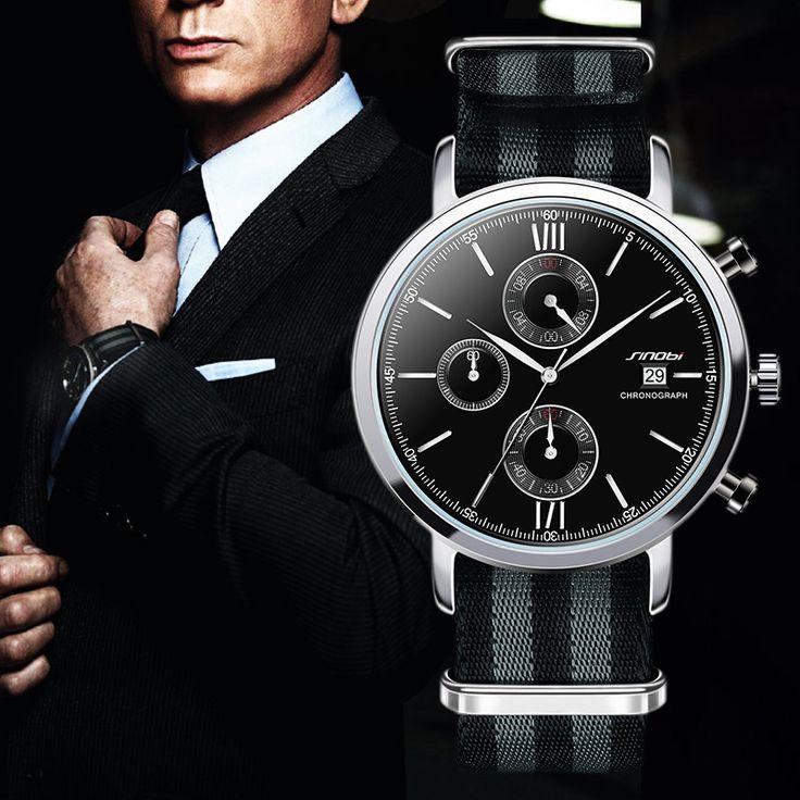 SINOBI Men Sports Military Watches NATO Nylon Watchband Male Chronograph Quartz Wristwatch Waterproof James Bond 007 Clock G74