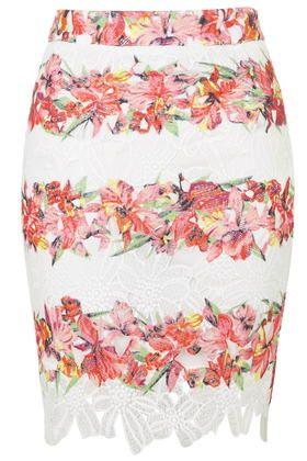 **Floral Print Crochet Mini Skirt by Rare