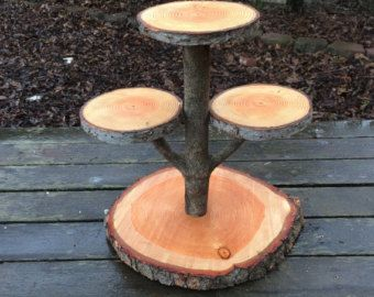Large Log Wood Rustic Cake Cupcake Stand Wedding party shower wooden 3 tiered