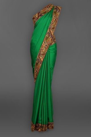 Featuring this beautiful Green Self, Border Sari in our wide range of Saris. Grab yourself one. Now!