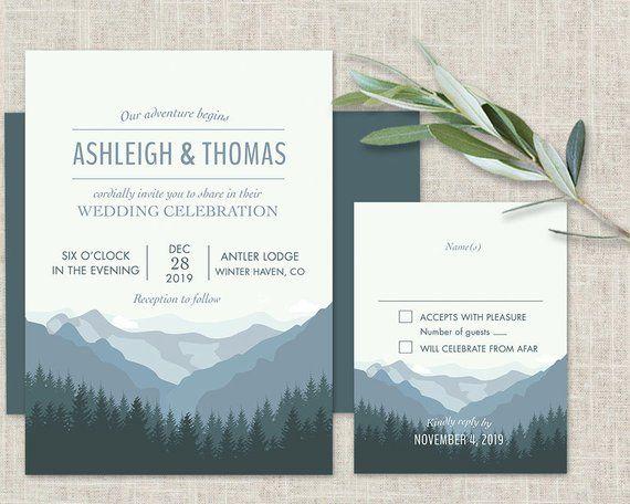 Mountain Wedding Invitation Printable Forest Wedding Etsy Mountain Wedding Invitations Forest Wedding Invitations Printable Wedding Invitations