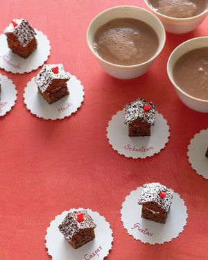 Chocolate Gingerbread House Petits Fours - What could be sweeter than a village of bite-size houses built from bricks of chocolate-gingerbread cake?