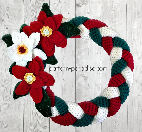 Make this braided wreath and decorate to match your home or the season. The braided base is a nice backdrop to so many different looks. The pattern includes instructions for the flowers and leaves but you could easily add your own decorations to customize.