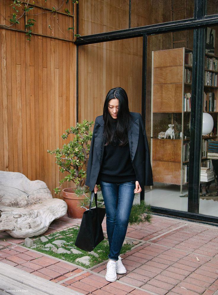 white sneaks, black blazer classic cool