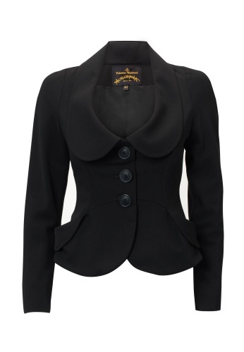 ... elongates a peter pan collar makes it have a more draped feel and  creates a tailored collar from it **Vivienne Westwood Anglomania peplum black  jacket