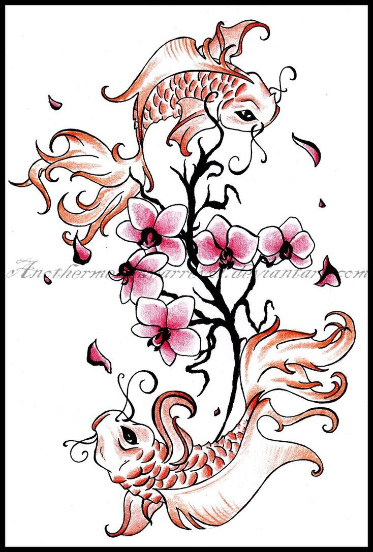 I would cut this in hald and just have the cherry blossoms wrap one koi. I like the Koi eyes though