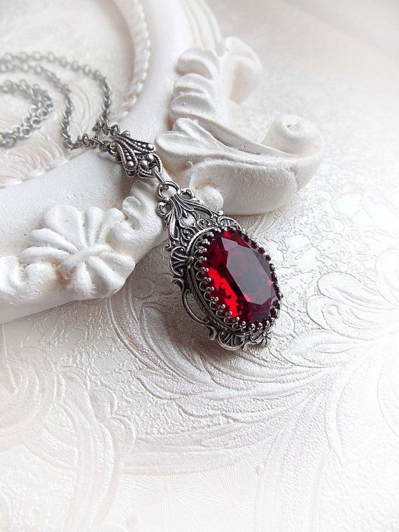 Red siam Swarovski crystal pendant necklace by MidnightVision