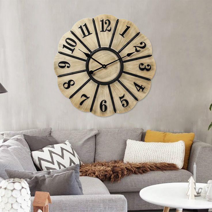 Pas cher Horloge En Bois horloge murale Saat Reloj Relogio de Parede Horloge…
