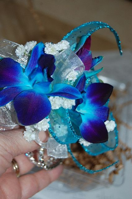 Blue Orchid Corsage | Dyed blue dendrobium orchids for a Pro… | Flickr