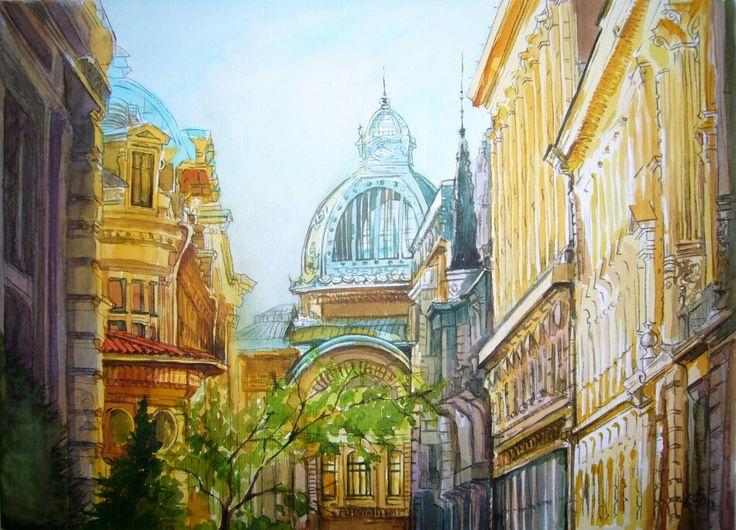 """""""Bucharest 4 """". Watercolor by Gabriela Calinoiu.  www.picturipeisaje.wordpress.com"""