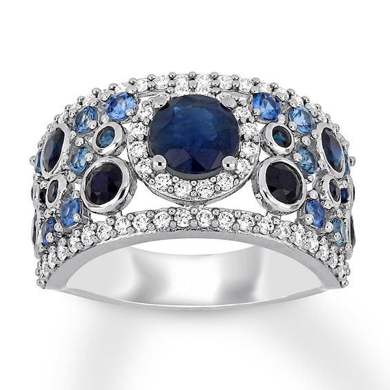Natural Sapphire Ring 1 2 Carat Tw Diamonds 14k White Gold Jared In 2020 White Gold White Gold Rings Natural Sapphire Rings