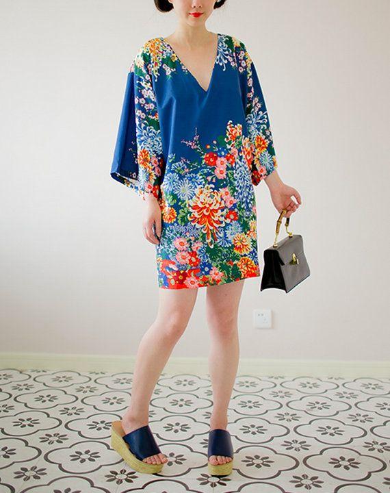 Lost in Kyoto Collection blue floral blossom short kimono dress