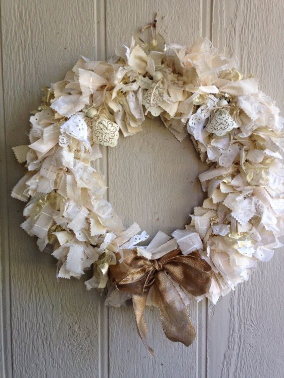 Angel Wreath Christmas Rag Wreath Cream and Gold by R2Rfashions