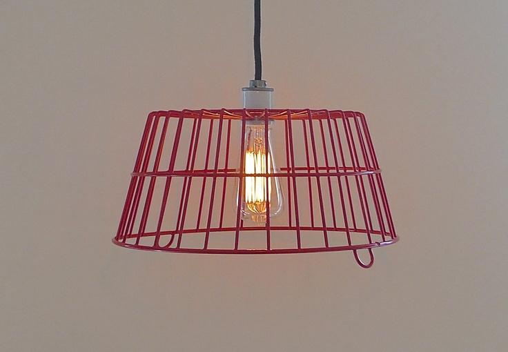 RED EGG BASKET LAMP w/ ceramic socket