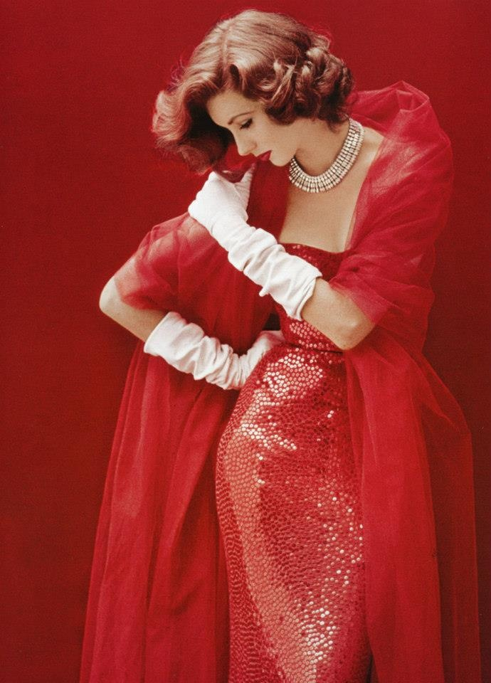 red dress with sequins/paillettes