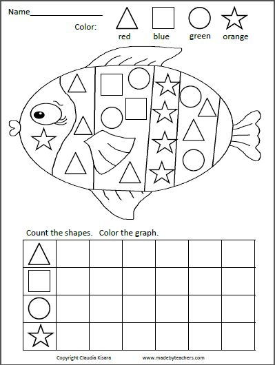 The original shapes graph fish. Color the shapes, count, and complete the graph.
