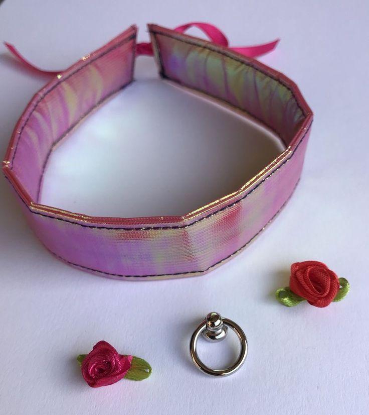 Halsband Damen pink changierend 32cm x 3cm wahlweise mit O-Ring oder Rose  | eBay