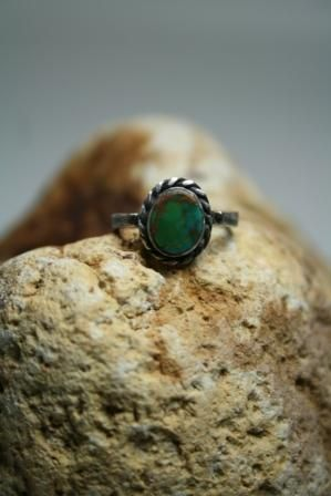 Oxidized Sterling silver turquoise ring Designed & Hand made by BurCak