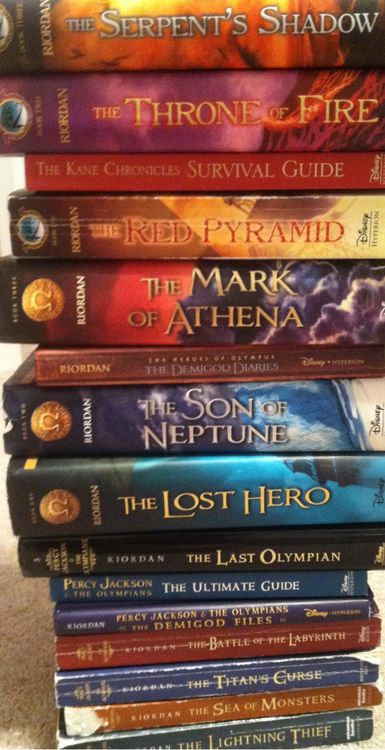 Rick Riordan's books... 3 different series: Percy Jackson and the Olympians, The Kane Chronicals, and Heroes of Olympus. Although, Magnus chase and the gods of Asgard, and the 39 clues are missing