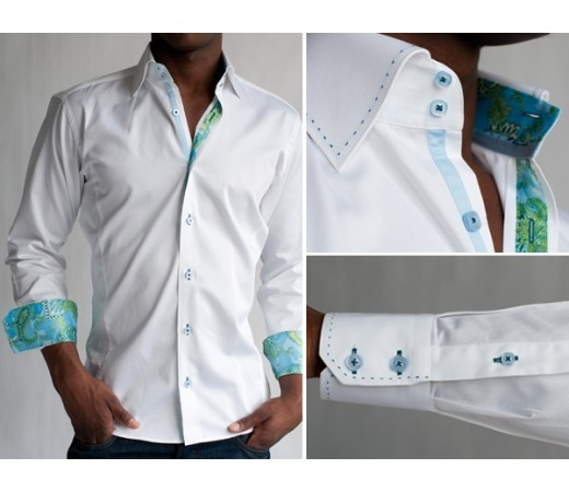 men's white shirt with collar and sleeve details.