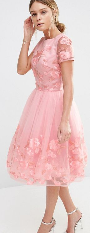 Pretty in pink Midi Dress by Chi Chi London #pink #wedding