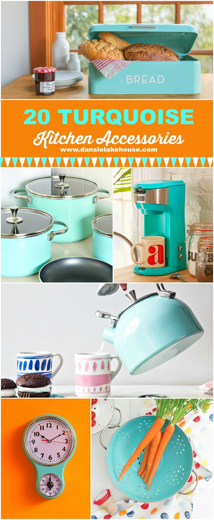 A great round up of 20 turquoise kitchen gadgets and accessories with a retro flare - great gift guide for vintage loving cooks.